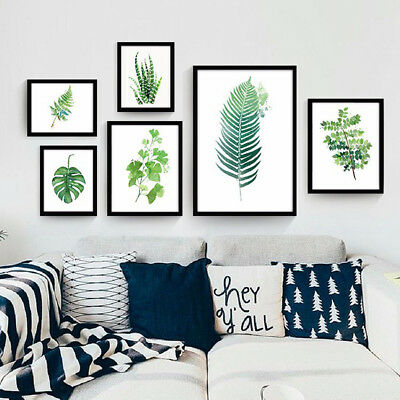 Co Modern Green Leaves Plant Canvas Wall Painting Art Print Home