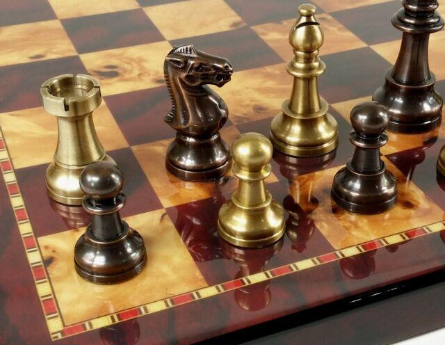 "ITALFAMA BRASS METAL Etched STAUNTON Chess Men Set W// 18/"" Cherry Color Board"