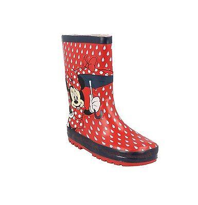 Tamaño de las niñas Wellingtons botas Minnie Mouse Disney Rojo Paraguas Lluvia Gotas Wellies