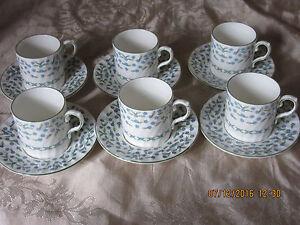 6 Aynsley Coffee Cans-tasses et soucoupes-Ne m'oublie pas Motif. inutilisé-afficher le titre d`origine lomS9dg3-09165303-444870676