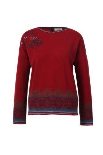 IVKO Wool Merinowolle wool Pullover jumper intarsia Pattern rot red cherry 82624