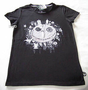 The-Nightmare-Before-Christmas-Ladies-Black-Printed-T-Shirt-Size-S-New