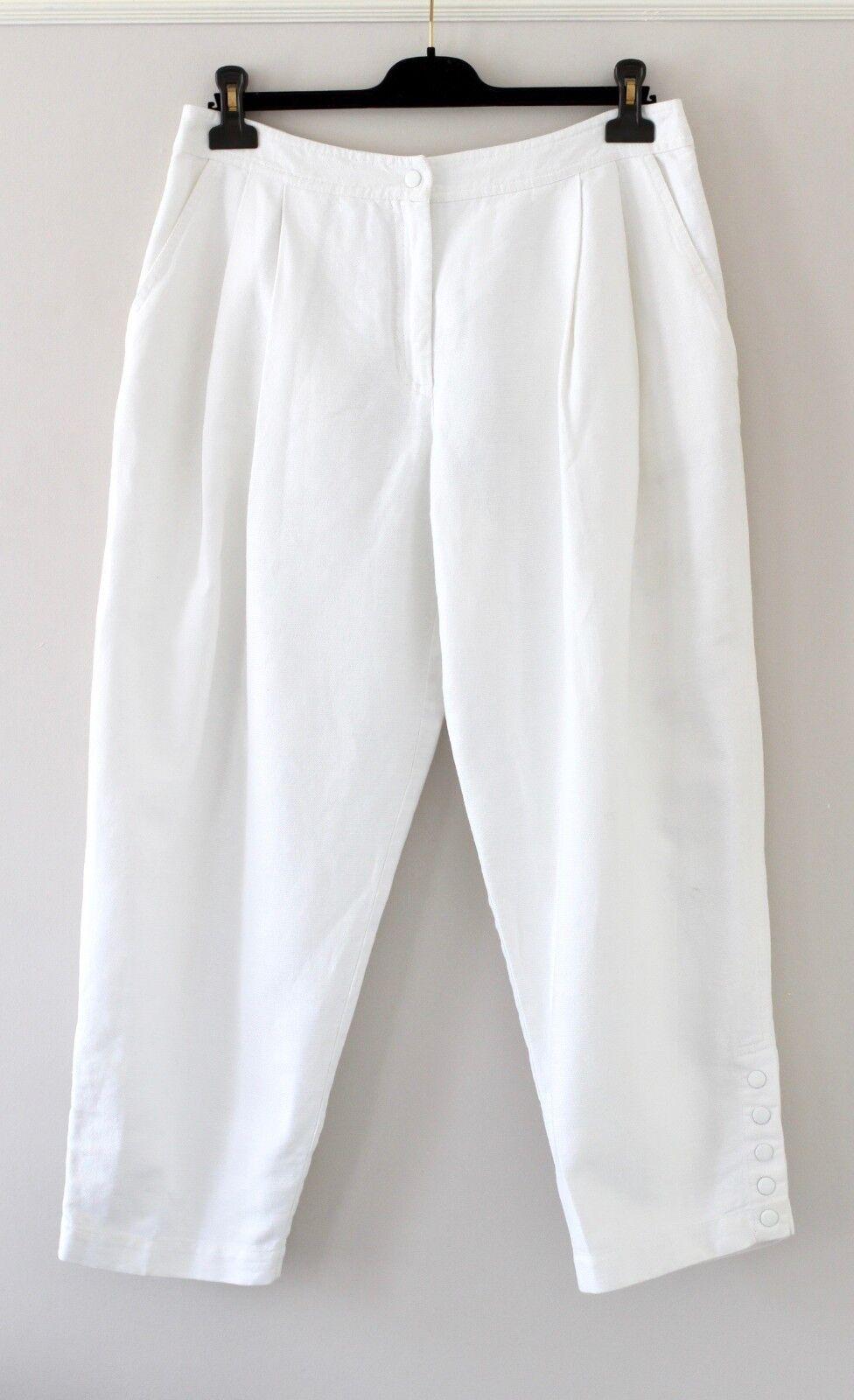 EMILIO PUCCI white linen cotton trousers pants UK14 IT46 US12