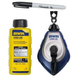 Irwin Strait-Line Speedline Pro Black Chalk Line Kit 100ft with Refill & Sharpie