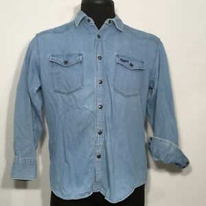 66566044ed1 Guess by Georges Marciano Mens Vintage Med Denim Blue Jean Shirt ...