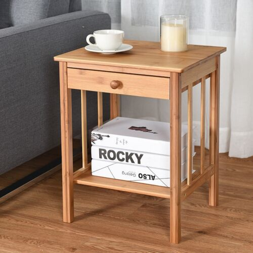 Bamboo Wooden Nightstand End Side Bedside Table w//Drawer Storage Organizer Shelf