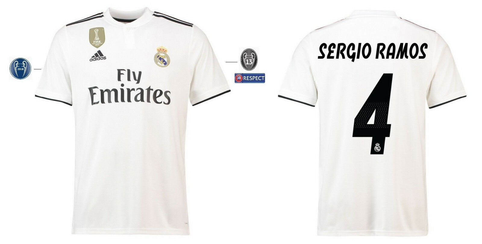 Trikot Adidas Real Madrid 2018-2019 Home UCL - Sergio Ramos 4  | Exquisite (mittlere) Verarbeitung