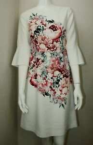 Laura-Ashley-Blanc-Rose-Floral-encolure-degagee-manches-3-4-Shift-Dress-8-10-12-14-16