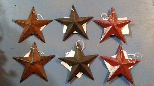 Set of 6 Small 3.5 Barn Stars - Ornaments, Metal, 2 Rusty, 2 Black, 2 Burgundy