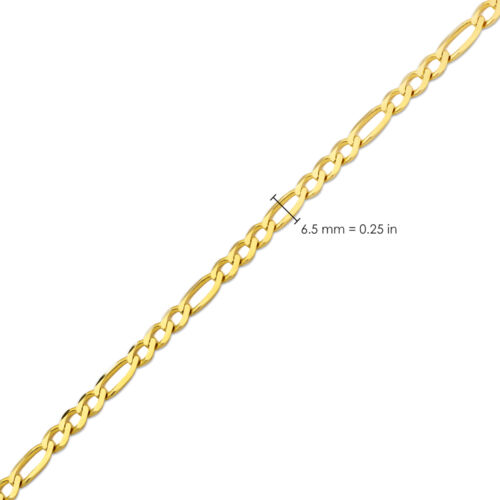 LoveBling 10K Yellow Gold Solid Figaro Chain Necklace 16-30inches 2mm to 6.5mm