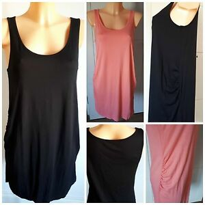 NEW-Ex-Store-Ladies-BLACK-CORAL-Sleeveless-Jersey-TUNIC-Dress-Size-10-22