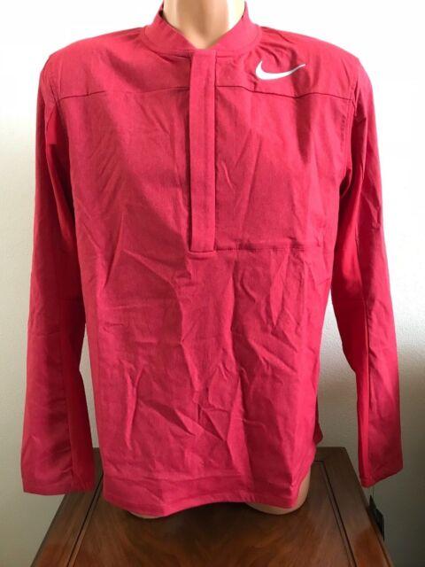 Mens Nike Shield Golf Jacket Windbreaker 1 2 Zip Pullover Red Medium M  892211 65bd90072