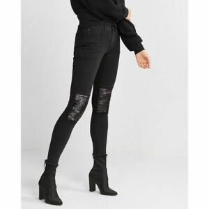 b52ca771e8d520 Details about NWT $88 EXPRESS MID RISE SEQUIN STRETCH JEAN ANKLE LEGGINGS  Black size 4S