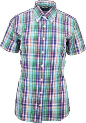 Check Shirt Button Collar Multicoloured Sleeve Short Tartan Relco Ladies Down 7TUzgg