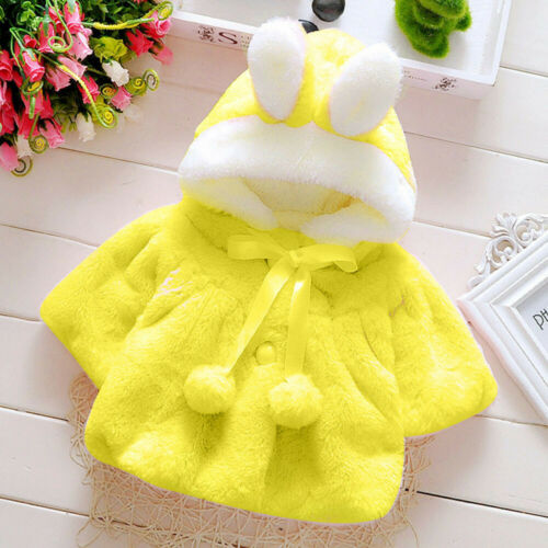 Baby Infant Girls Autumn Winter Hooded Coat Cloak Jacket Thick Warm Clothes