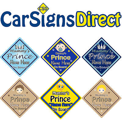 Personalised Grandads Prince On Board Car Sign Baby//Child Safety 6 Choices