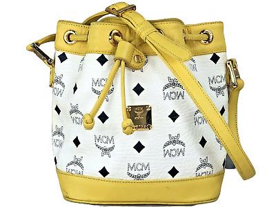 Original MCM Visetos Mini Bucket Beuteltasche Tasche Schultertasche weiss gelb | eBay