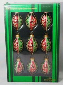 Finial-Oval-Ornament-Set-9-Red-Green-Glitter-2-5-034-Christmas-Winter-Kurt-Adler