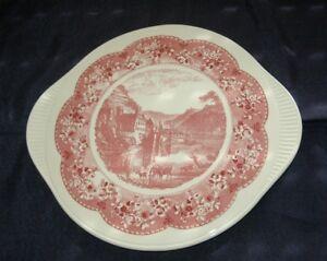 Gruenstadt-Keramik-alte-Tortenplatte-mit-Schloss-Tortenteller-Teller-Kuchenteller