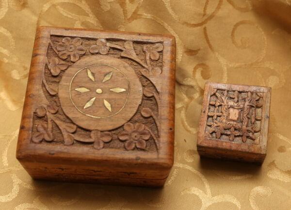 2x Cajas De Madera Talladas A Mano Indio Vintage Diseño Floral-ver Y DigestióN Ayudando