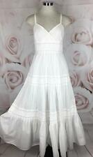 Lauren Ralph Lauren 6 Dress White Tiered Cotton Boho Beach Wedding Romantic