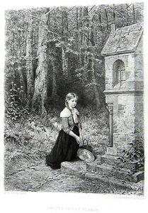 PRETTY-YOUNG-FARM-GIRL-PRAYS-AT-SHRINE-IN-FOREST-1880-Salentin-Art-Print-Etching