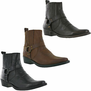 Leather-Cowboy-Pull-On-Western-Harness-Cuban-Heel-Mens-Smart-Ankle-Boots-UK-7-12