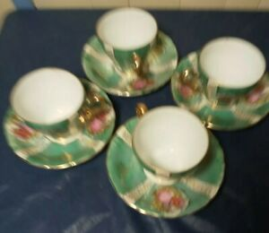 Vintage Japan green & white Gold cup & saucer Set of 4 with courting couple