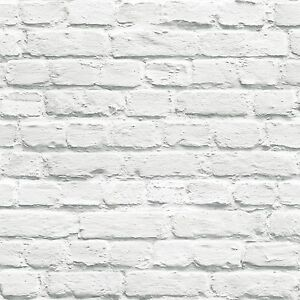 Details About Muriva Painted White Brick Wallpaper 102539 New Feature Wall Room Decor