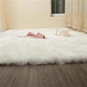 Details About Fluffy White Faux Fur Sheepskin Rug Large Soft Rugs Warm Carpet Floor Bed Pads