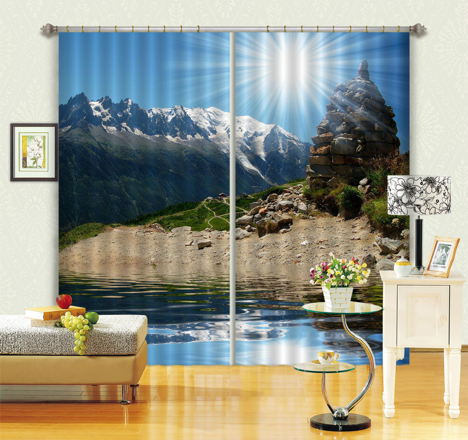 3d sol montaña 47 bloqueo foto cortina cortina de impresión sustancia cortinas de ventana