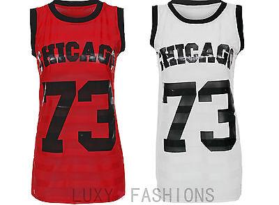 Womens/Ladies Chicago 73 American Basketball Baseball Varsity Jersey Top 8-14