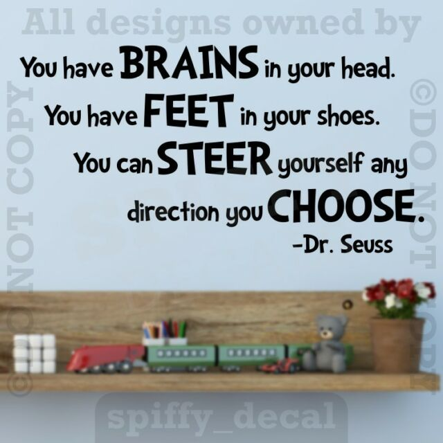 You're Off To Great Places Brains Quote Wall Decal Vinyl Sticker Decor DR SEUSS