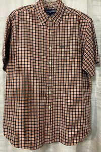 RALPH-LAUREN-POLO-SPORT-Men-039-s-button-down-shirt-plaid-Short-sleeve-size-L