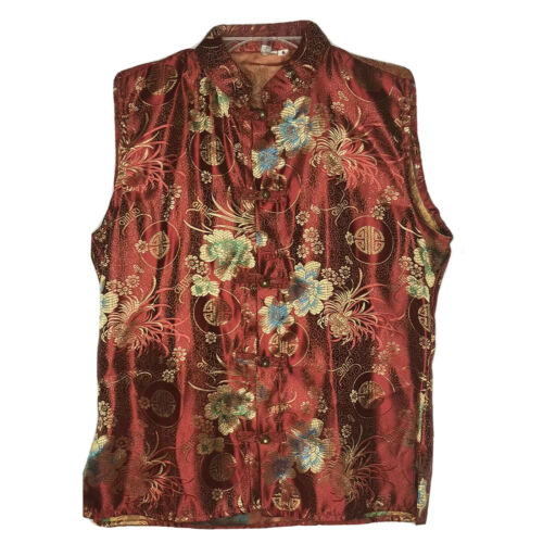 Asian Red Silk Kimono Blouse Small Sleeveless Top