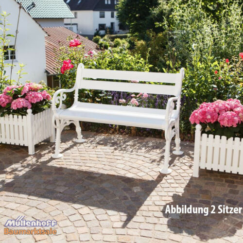 Gartenbank Landhausbank Blome Linderhof 3-Sitzer weiß Obermaterial PVC//PP