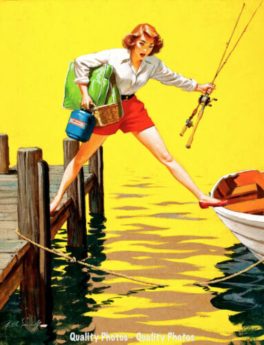 "Beautiful Woman Does Splits 8.5x11/"" Photo Print Arthur Sarnoff Fishing Boat Art"