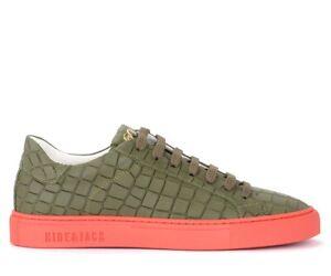 Sneaker-Hide-amp-Jack-Croco-in-pelle-verde-effetto-croco-e-suola-rossa