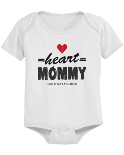 Pre-Shrunk Cotton Snap-On Style I Heart Mommy Cute Baby Bodysuit