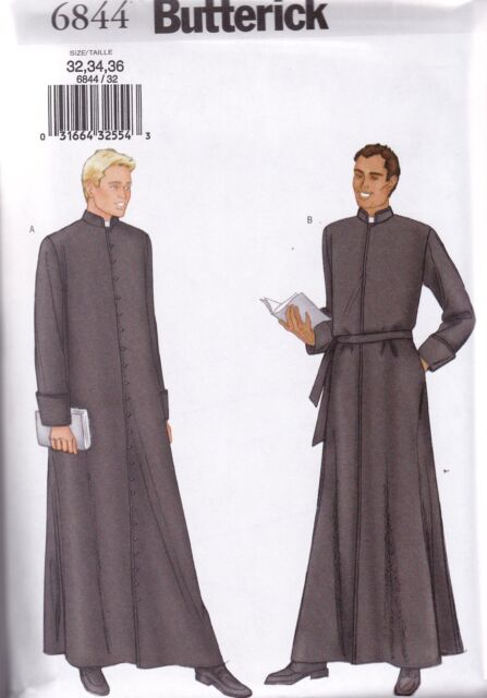 Butterick Sewing Pattern Men's Robe Clergy Priest Pastor Vicar 32- 48 inch B6844