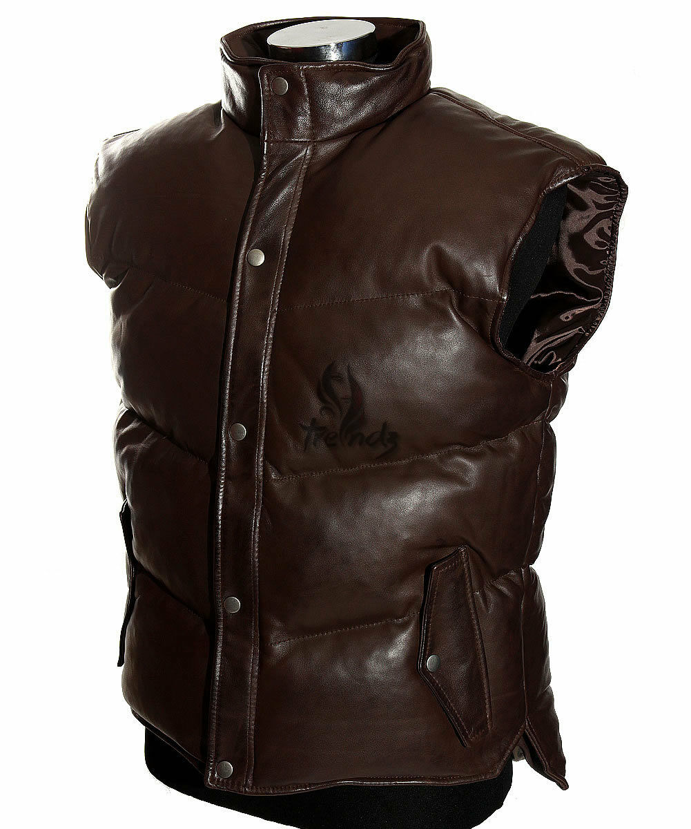 Men's Everest Puffer Brown Down-Fill Lambskin Leather Military Padded Waistcoat