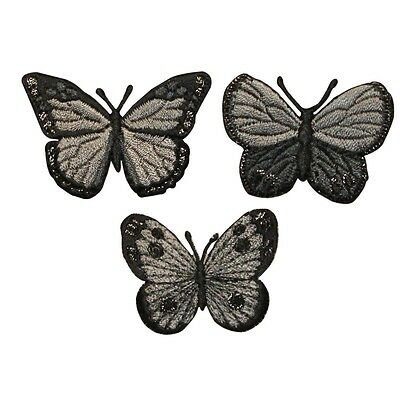 ID 2153ABC Set of 3 Butterfly Insect Embroidered Iron On Applique Patch