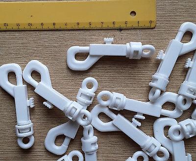 1000 Weisse Karabinerhaken Ca. 70 Mm Aus Plastik