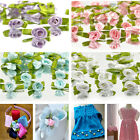 100PCS Charm Ribbon Rose DIY Wedding Flower Decor Bow Appliques Sewing Craft