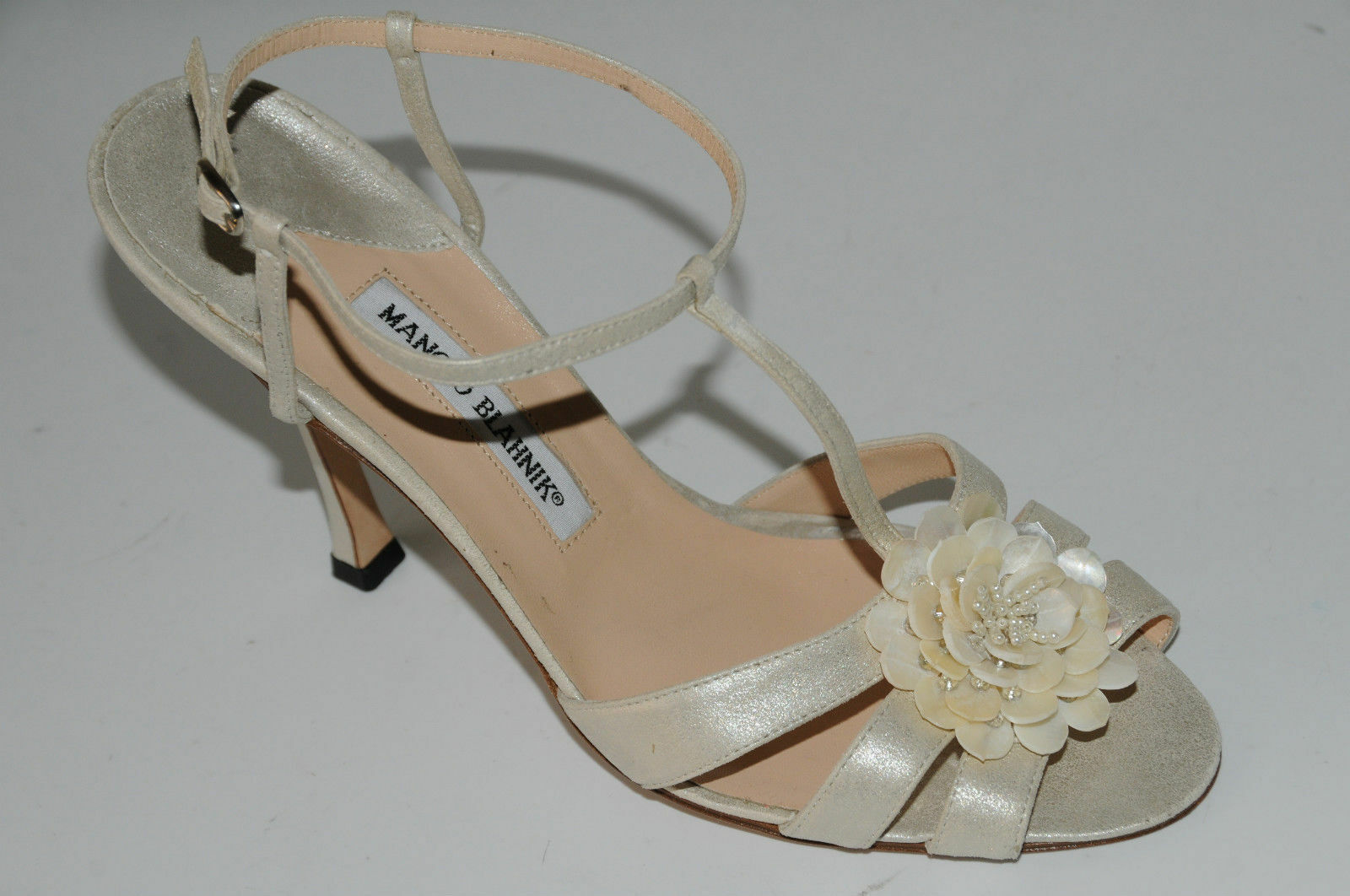 Nuevos Zapatos Sandalias de Manolo Blahnik Putas blancoas Boda Boda Boda Con Tiras De Piedras Preciosas 41.5  a la venta