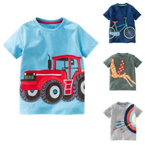 Toddler-Kids-Baby-Boys-Girls-Summer-Short-Sleeve-Cartoon-Tops-T-Shirt-Blouse-New