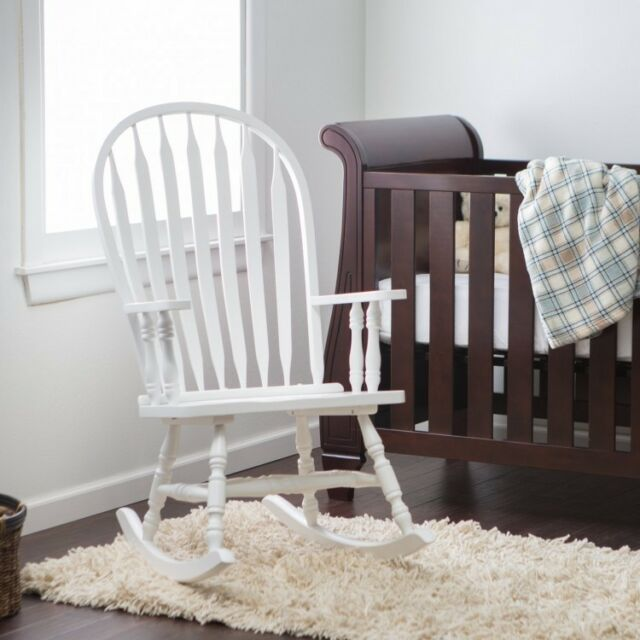 Peachy Indoor Wooden Rocking Chair White Baby Nursery Living Room Rocker Seat Furniture Creativecarmelina Interior Chair Design Creativecarmelinacom