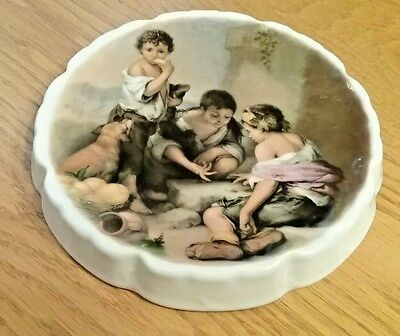 "Vintage China Trivet for Coffee Tea Pot Victorian Image Children Game 6.5"" diam"