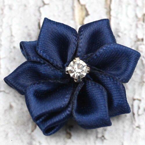 10-50Pcs U pick Mini Satin Ribbon Flowers bows Appliques Craft DIY Wedding Decor