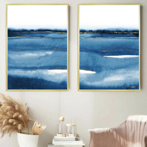 Blue Abstract Wall Art Set Watercolour Painting Print Poster Bedroom Art A4 A1
